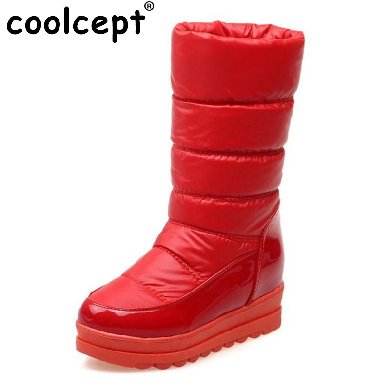 Coolcept Size 34-43 Women Thick Fur Shoes Snow Boots Warm Wedges Boots For Cold Winter Shoes Half Short Boots Women Footwears<br>