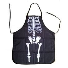 Hot Sale Gothic Chef Bib Halloween Skeleton bones costume apron Hostess Gift Decoration Fashion Popular Apron High Quality