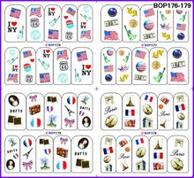 4 PACKS / LOT US FRANCE NATIONAL FLAG NAIL TATTOOS STICKER WATER DECAL NAIL ART BOP176-179