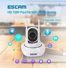 ESCAM G02 IP Camera 720P Video Surveilance WiFi Mini Camera IR-Cut Two Audio Dual Antenna CCTV Infrared Security Dome Camera(China)