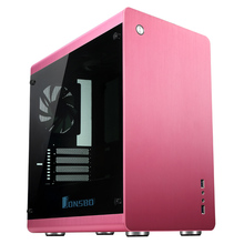 Computer case RM3 Pink Aluminum Cover opening Support Big power supply multimedia PC box(China)