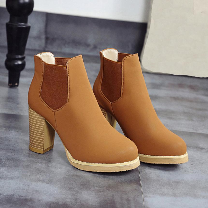 Best Gift 2017 Fashion Female Round Head Leather Ankle Boots High Heeled Martin Boots Wholesale Drop Shipping Dec30<br><br>Aliexpress