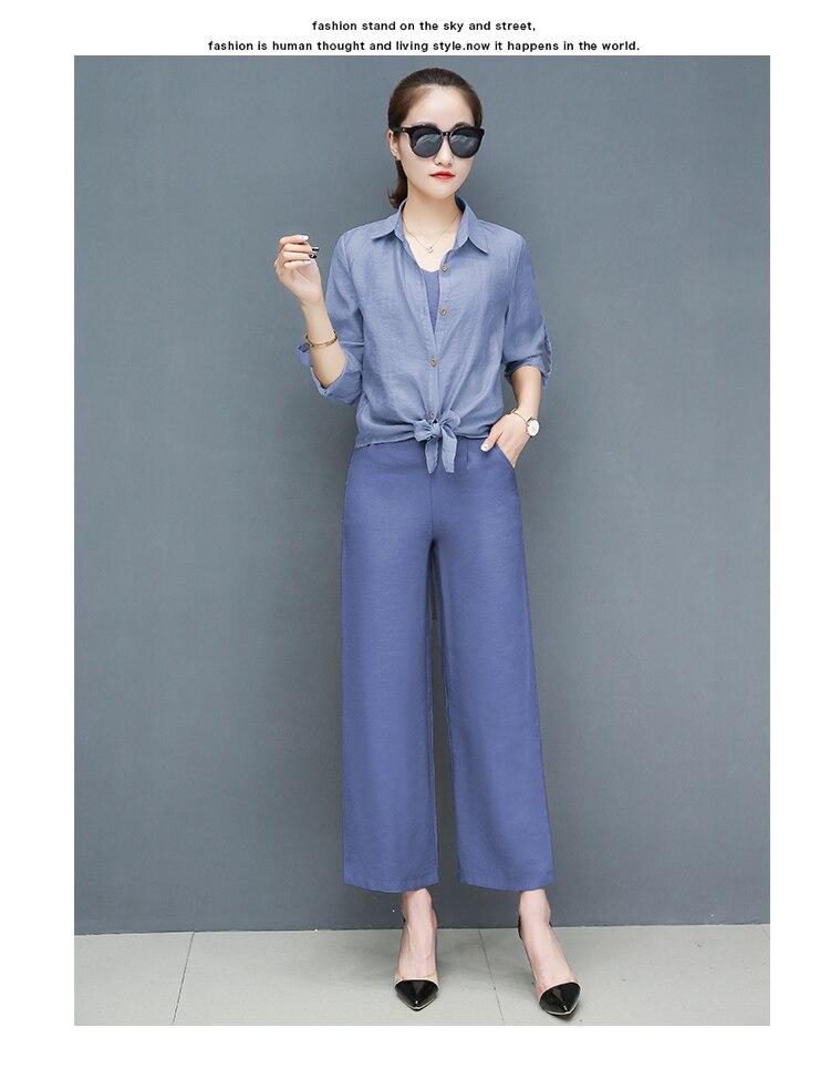 2019 Spring summer women sets office lady elegant chiffon blouse shirts+female wide leg pants trousers pantalon two piece sets 20 Online shopping Bangladesh