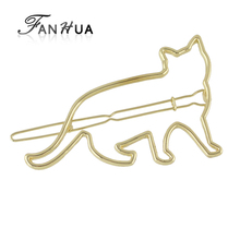 FANHUA  Minimalist Jewelry Gold-Color Silver Color Hair Accessories For Women Animal Cat Hairgrips Hairwear New Arrival