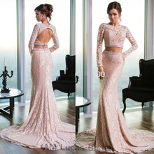 Fashion Evening Dress Lace Long Sleeves 2017 Two Piece Women Formal Gown For Prom Party Vestido De Festa Fast Shipping