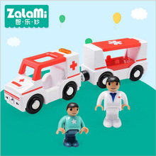 ABS 2 Ambulances With 2 People Model For Children Kids Wooden Railway Train Magic Tracks Puzzle Education Car Game Toys Gift