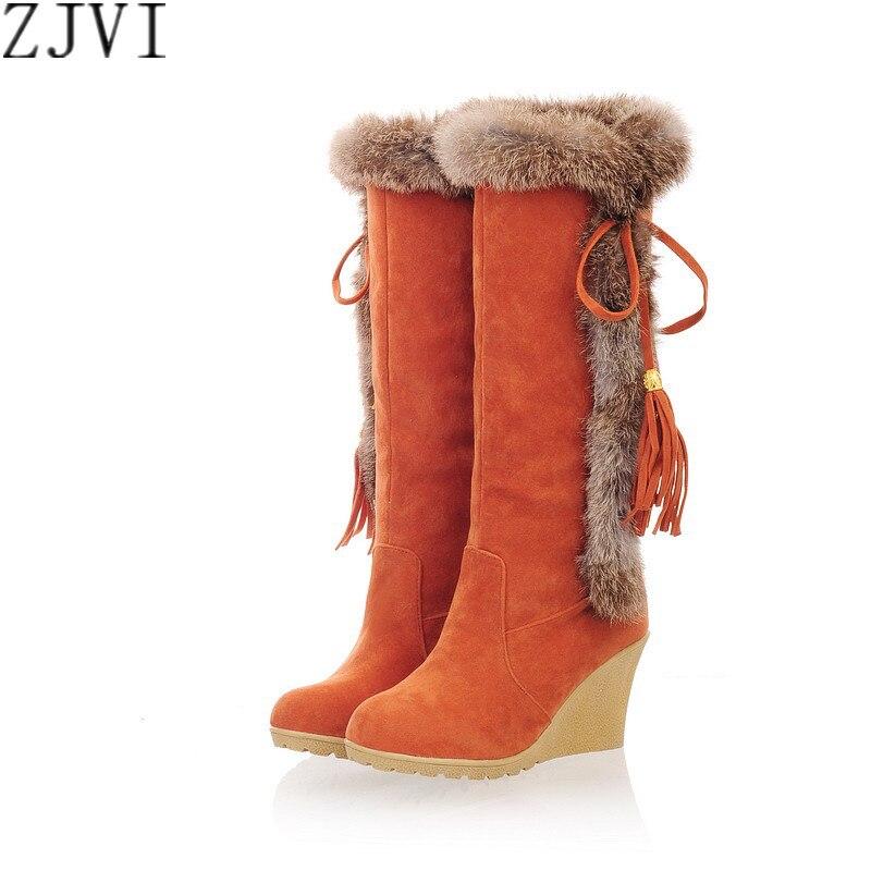 ZJVI Fashion nubuck thigh high snow boots Elegant Rabbit hairs knee high Winter high Wedges heels boots woman female shoes<br><br>Aliexpress