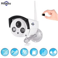 Hiseeu wifi IP camera bullt 1.0MP wireless network kamara outdoor SD card storage waterproof CCTV surveillance IR camera P2P(China)