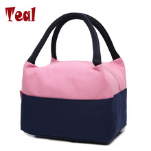2017 new double insulated handbag ladies lunch box lunch bag hand carry ladies package Oxford cloth waterproof canvas bag(China)