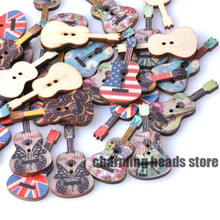 Mixed Color Guitar Fabrics Wooden buttons For handmake Scrapbooking Crafts 50pcs 18x36mm 2 Holes MT0109X