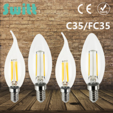 SWITT C35 C35L Antique LED Edison Bulb E14 2W 4W 6W 220V Retro LED Filament Light Vintage LED Candle Light Lamp LED Glass Bulb(China)