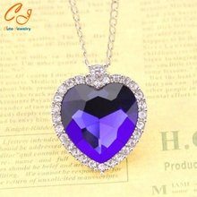 2016 Hot Selling  Movie New Titanic Necklace Heart of Ocean Crystal Pendant Necklaces European Necklace Wholesale Freeshipping