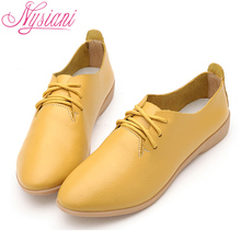 Nysiani Split Leather Oxford Shoes For Women Pointed Toe Casual Nurse Shoes Autumn Flat With Leather Women Loafers Shoes 2017(China)