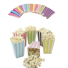 6pcs/lot Mini Party Paper Popcorn Boxes Candy/Sanck Favor Bags Wedding Birthday Movie Party Supplies  baby shower gift boxes