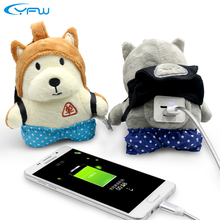YFW Portable Plush Single Dog Power Bank 6000mAh Mobile 2.0A Quick Charger External Battery Pack Christmas Gift for All Phones