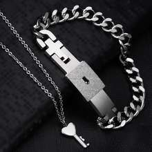 1 pcs Lovers Fashion Key Necklace And Lock Bracelet jewelry Set Couple Valentines Gifts Silver fashion jewelry
