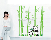 LP New removable vinyl wall stickers Panda and bamboo diy home decor wall decals for kids rooms JM7169 Free shipping
