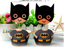 24pc Super Batman Party Paper Cupcake wrappers toppers for kids birthday party decoration cake cups(12pcs wraps+12pcs toppers)