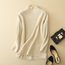 Women's 2017 Winter Solid Colors Cashmere Sweater Pullovers 100% Pure Cashmere Half Turtleneck Raglan Sleeve Loose Sweaters