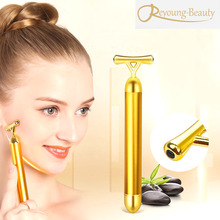Face Lifting Slimming Shaping Skin Tightening Y Shape 24k Vibration Gold Energy Beauty Bar Roller Stick Facial Massager Machine