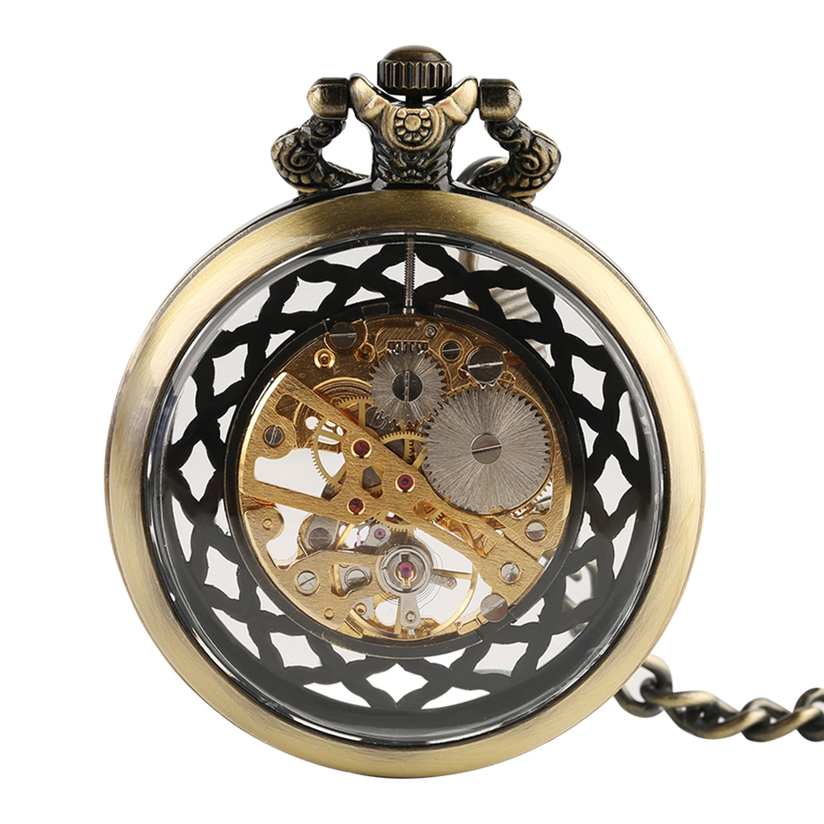 Top Gifts Luxury Transparent Skeleton Hollow Mechanical Watch Retro Hand Winding Analog Pocket Watch for Men Women Antique Style (3)