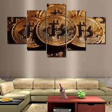 Buy Art Canvas Poster Print Wall Living Room 5 Pieces/Pcs Bitcoin Painting HD Home Decoration Framework Modular Pictures for $5.92 in AliExpress store