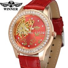 WRL8009M3R4  Latest Winner Automatic skeleton women red color with gift box dress watch red leather strap factory company