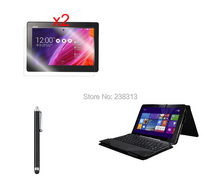 Black&Brown Folio Stand Pouch Case with Keyboard Cover + 2 * Clear Screen Films + Stylus for Asus Transformer Pad Tf103c TF103CG