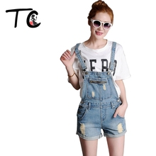 TC Women Jeans Short Jumpsuit Summer 2016 Casual Solid Slim Vintage Ripped Pockets Zippers Denim Overall Women Clothing AT00357