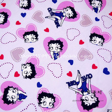 100X140cm Betty with Colorful Hearts Light Purple Cotton Fabric for Baby Girl Clothes Quilting Cutain Cushion Cover DIY-BK064(China)