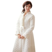 Free Shipping 100% Cotton Princess Nightgown Women's Winter Robe White and Pink Long Sleepwear Thicken Pijamas(China)
