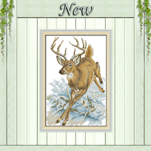 Running deer snow forest decor paintings counted printed on canvas DMC 14CT 11CT DMS Cross Stitch Embroider kits Needlework Sets