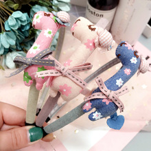 Handmade Cloth Giraffe Hair bands hoop 2017 Fashion Kids Hair accessories Bowknot print flower Headbands Princess Hairbands Bows(China)