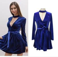 New Ladies Elegant High Low Deep V Neck New Year Christmas Party Velvet  Pleated Dress 6805dae4a769