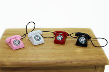1/12 Dollhouse Miniature Metal Phone Telephone Black Classic Toys Pretend Play Doll House Furniture Toys Decoration Gift Kid