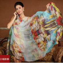 High quality 100% silk scarf  natural real silk Women Long scarves Shawl Female hijab  wrap Summer Beach Cover-ups water town