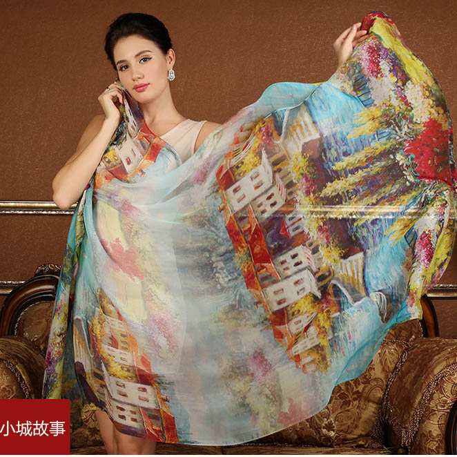High quality 100% silk scarf natural real silk Women Long scarves Shawl Female hijab wrap Summer Beach Cover-ups water town(China)