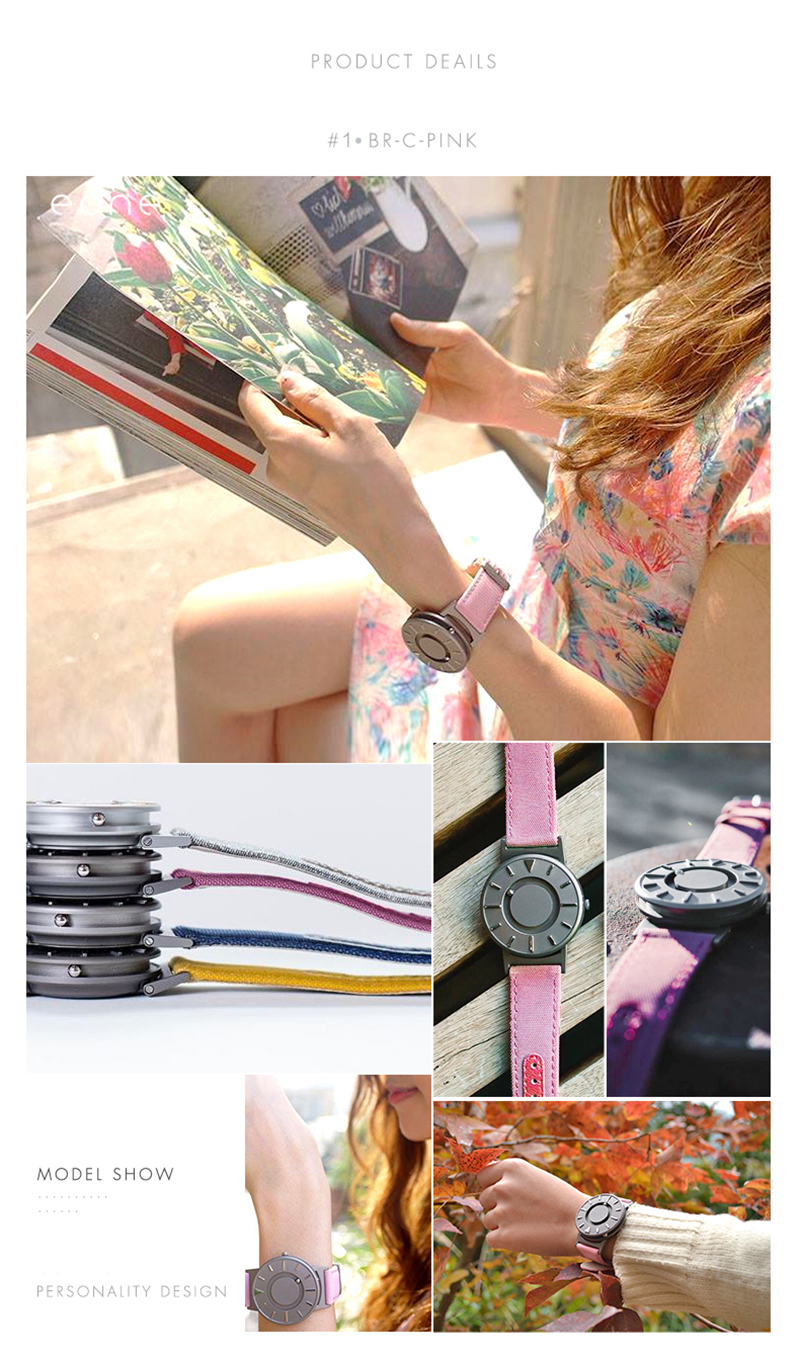 EUTOUR Women Watches Magnetic Ball Pointer Creative Ladies Watch Simple Fashion Pink Canvas Strap Wristwatches For Blind Person (7)