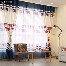 QANHU Comfortable Luxury fashion style curtains kitchen boys girl house curtains window living room curtain panel door DM-3(China)