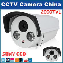 "2000 TVL CCTV Gun Camera 1/3"" Sony CCD 960H High Resolution Surveillance Security Camera 2 IR LED free shipping"