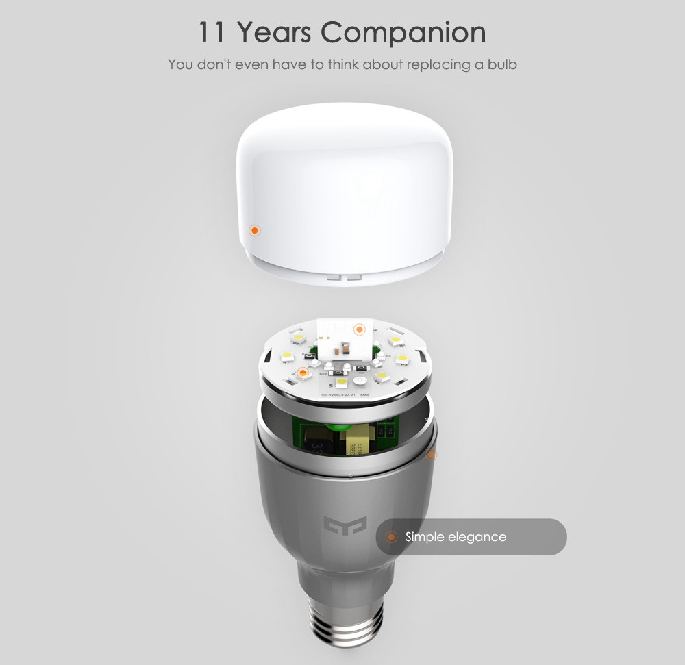 Original Xiaomi Yeelight II Smart LED Bulb E27 9W 600 Lumens Mi Light Smart Phone WiFi Remote Control 7