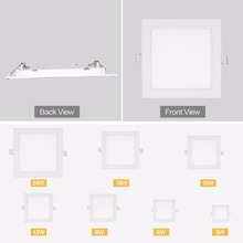 JJD LED Panel Light Ceiling Recessed Downlight Ultra Thin 3w 6w 9w 12w 15w 18w 24w Square LED Spot Light AC110V-220V Cool White(China)