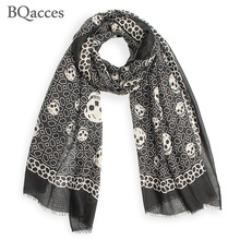 New fashion black white skull print twill cotton scarves with tassel lady long silk scarf high quality autumn hijab shawl wraps