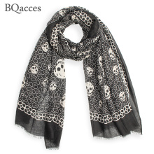 New fashion black white skull print twill cotton scarves with tassel lady long silk scarf high quality autumn hijab shawl wraps(China)