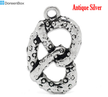 "Doreen Box Lovely Antique Silver Pretzel Charm Pedants 23x13mm(7/8""x1/2""), sold per packet of 20 (B16444)"