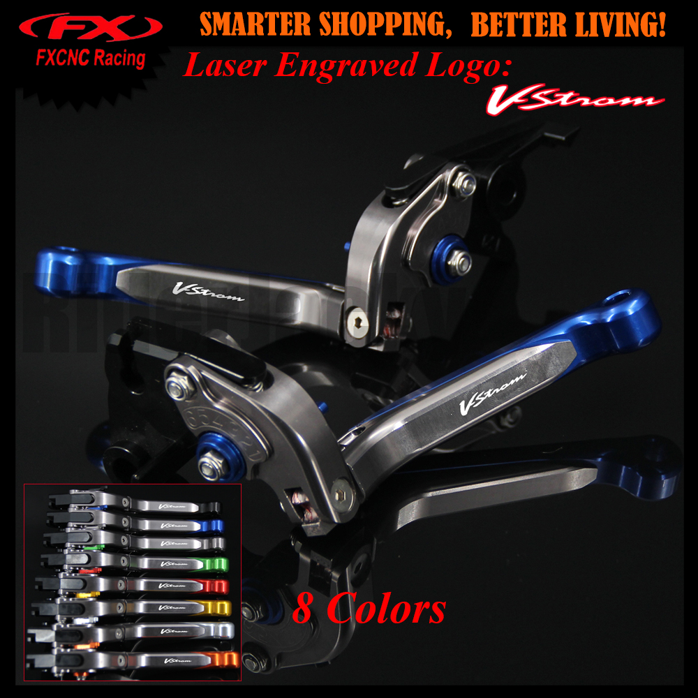 8 Colors Blue+Titanium CNC Motorcycle Adjustable Brake Clutch Lever For Suzuki DL650/V-STROM 2011-2012 VSTROM V STROM With Logo<br>