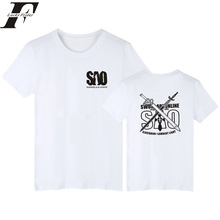 2017 Fashion Sword Art Online fitness T Shirts Men wow streetwear SAO men t shirt top funny brand clothing white(China)