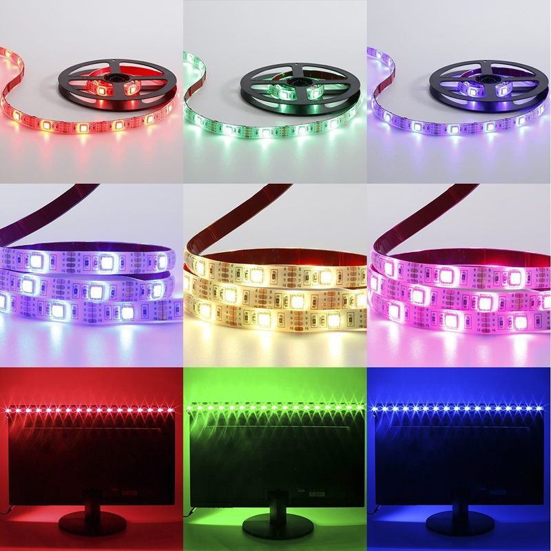 5M RGB LED Strip Waterproof tiras SMD 5050 LED Strip TV Tape Lighting 5V USB Computer Led Lighting with 24keys Remote Controller (11)