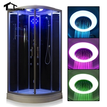 Free shipping 90cm balck with Steam Shower massage Corner Cabin room Cabin hydro cubicle Enclosure glass walking-in saunaD09
