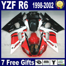 7 gifts motorcycle fairing kit for YAMAHA YZF R6 1998 1999 2000 2002 red black YZFR6 98 00 01 02  aftermarket Fairings